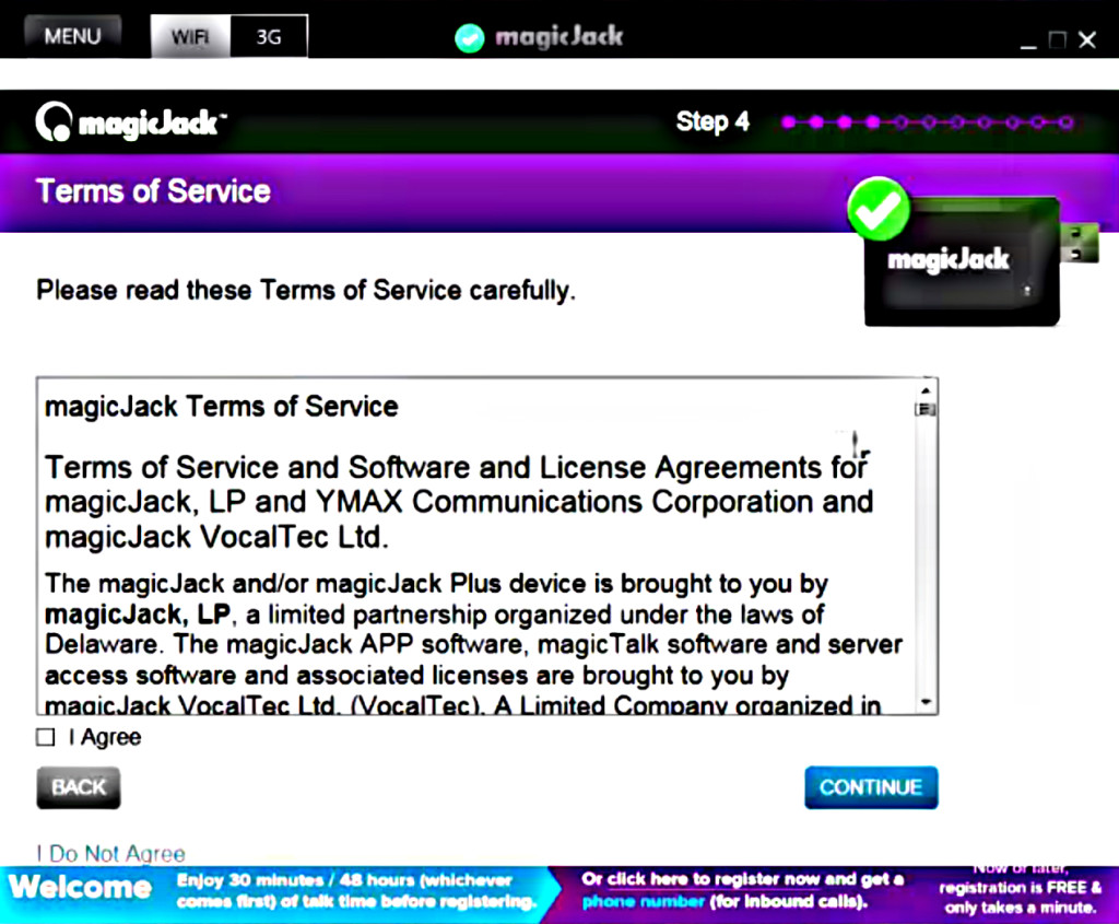 magicJack Terms Of Service Page