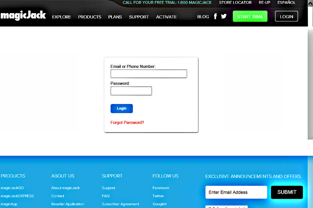 magicJack Login Page