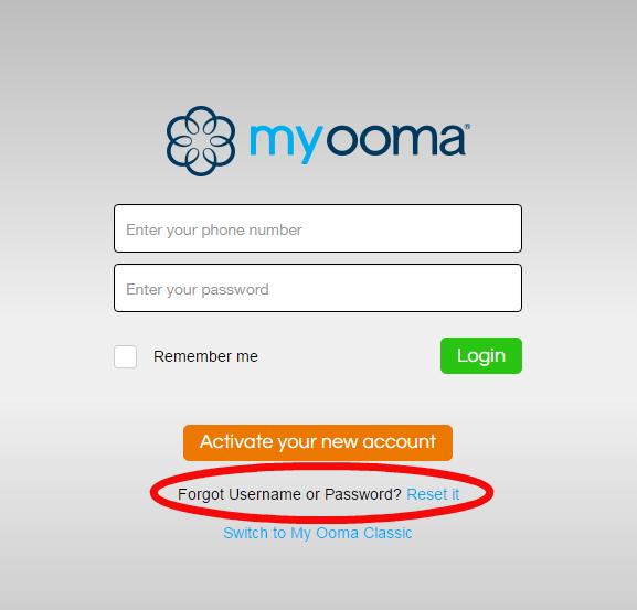 Ooma Reset Password