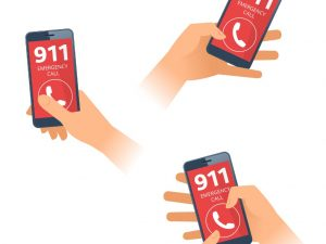 Sketch of 3 hands holding phones displaying 911 on them